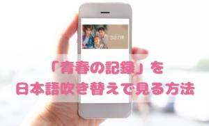 青春の記録の日本語吹き替え動画の視聴方法!Netflix以外の無料動画やDVDもチェック